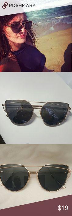 Aimade 2017 New Cat Eye Sunglasses Women 2017 New Cat Eye Sunglasses Women  Fashion Twin-Beams Rose Gold Mirror Cateye Sun Glasses For Female UV400 Accessories Sunglasses