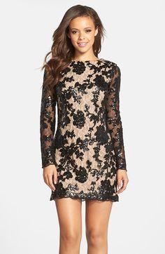 Dress the Population 'Grace' Sequin Lace Long Sleeve Shift Dress poly black/nude 34.5L szXS 218.00