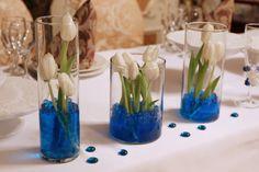 Синяя свадьба. Стол жениха и невесты. Президиум. Украшение стола молодожен