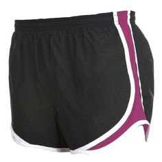 Black and Fuschia Pink jersey white side stripe sport velocity shorts elastic waist $20.00