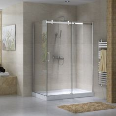 Douche vitr e avec murs en c ramique shower with glass panels and ceramic tiles bathroom for Peinture douche acrylique