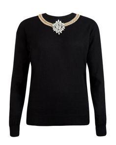 Chain embellished jumper - Black | Knitwear | Ted Baker UK