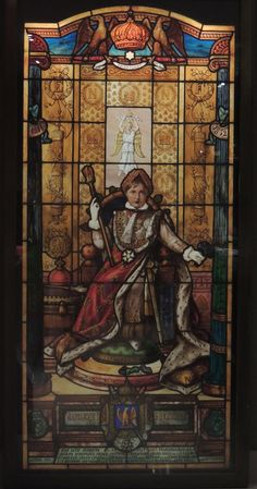 Today is the birthday (203) of Napoléon François Charles Joseph Bonaparte, the King of Rome, better known, unfortunately, as the Duke of Reichstadt. One of the saddest histories ever. This is a stained glass panel by Alfred Échivard (1866-1939), currently in the Musée de la Légion d'Honneur in Paris. (Source: my photo)