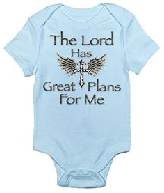 The Lord Has Great Plans for Me Cute Christian Onepiece Baby Bodysuit Romper 36 Months Light Blue >>> Learn more by visiting the image link.Note:It is affiliate link to Amazon.