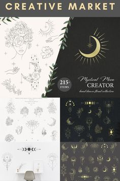 Hand-drawn Ethereal  Moon Digital Design Assets Collection - including Delicate Floral & Celestial Line Art Elements · Ready Flower, Hand, Moon Phases, Sparks Designs in White, Black & Gold | #photoshop #illustrator #digitaldesign #creativeassets #graphicdesign #graphicelements #patterndesign #logodesign #moondesign #moonart #floralmoon #floraldesign #botanicaldesign #creativemarket #affiliatelink Elements Of Art, Design Elements, Sparks Design, Line Art Design, Floral Design, Graphic Design, Moon Design, Photoshop Illustrator, Moon Art