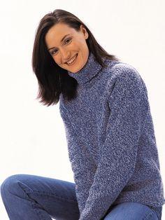 Turtleneck Sweater | Yarn | Free Knitting Patterns | Crochet Patterns | Yarnspirations