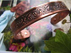 Men's 8 Inch Solid Copper Magnetic Cuff Bracelet CBM232M- 1/2 an inch wide.