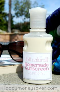 This homemade natural sunscreen is very easy to make! I have done a lot of research on DIY sunscreen and this recipe is the cheapest and works just as well as the name brand! - happymoneysaver.com
