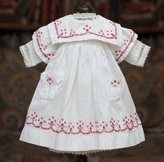 "Antique French Original White Cambric Pinafore Dress with red Cross-Stitch & White Batiste Chemise for Jumeau Bru Steiner Eden Bebe , other french doll about 17-18"" tall"