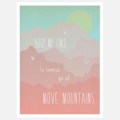 Move Mountains Print Pink  by Children Inspire Design