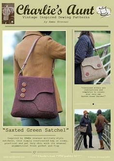Saxted Green Satchel Pattern in PDF by Charlie's Aunt - based on 1940's style military satchel.
