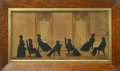 Silhouette Displaying Men and Women In Full Form (and wearing the current style of the time.). Very Rare. Circa mid to late 1800's.