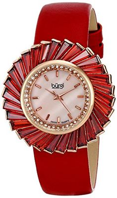 Burgi Women's BUR114RD Analog Display Swiss Quartz Red Watch