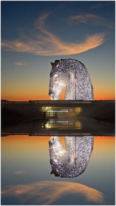 The Kelpies sculpture designed by Andy Scott