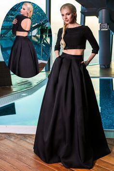 Light-Filled 3/4 Sleeve Sequins Jewel Natural Little Black Dress