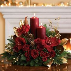 Christmas Centerpieces and Table Arrangements. Send flowers and gifts from our Christmas Centerpieces section using local florists and bakeries and with our low service fee. Christmas Flower Arrangements, Christmas Table Centerpieces, Christmas Flowers, Christmas Tablescapes, Christmas Candles, Xmas Decorations, Christmas Home, Christmas Holidays, Christmas Wreaths