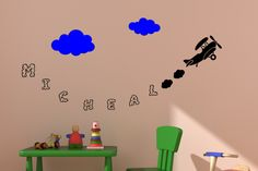 Boys airplane decal, name sticker, clouds, personalized, wall decal, boys room, girls room, nursery wall decor, childs room, 30 X 60 inches by aluckyhorseshoe on Etsy
