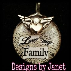 Love my Family Vintage Lace Pendant Soldered Jewelry