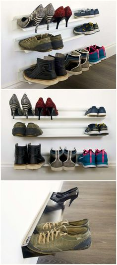 The Horizontal Shoe Rack is a clever shoe storage solution and a piece of contemporary wall art in one! #affiliate & Chic IKEA Organization Hacks That Will Change Your Life | IKEA ...