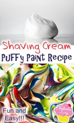 This fun paint recipe for kids will keep them busy for hours! Perfect for preschoolers and toddlers. This puffy paint recipe is easy to make and only takes 3 ingredients! #paint #paintrecipe #craft #craftsforkids #processpainting #sensoryplay Easy Paint Recipe, Craft Projects For Kids, Activities For Kids, Water Crafts, Fun Crafts, Spring Arts And Crafts, Shaving Cream Painting, Homemade Paint, Puff Paint