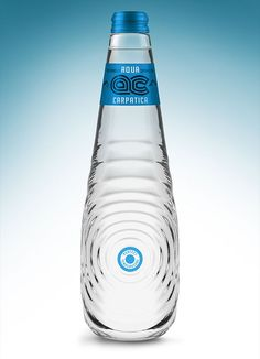 "Aqua Carpatica packaging presented here, is a concept design created for a international contest ""The Perfect Shape for The Perfect Water"" held by Carpathian Spring and Cohn&Jansen in Water Packaging, Glass Packaging, Juice Packaging, Beverage Packaging, Packaging Design, Logos Online, Sparkling Mineral Water, Water Bottle Design, Pet Bottle"