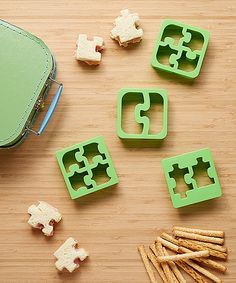 This Green Puzzle Piece Sandwich Cutter Set by The Lunch Punch is perfect! #zulilyfinds