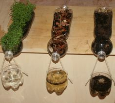 Science experiment on soil erosion – Tremendous visual impact due to its simplicity, it demonstrates the relationship between precipitation, soil erosion, and vegetation.