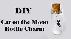 DIY: Pote Gatinho ao Luar - Cat on the Moon Bottle Charm (Brilha no Escuro/Glow in the dark)