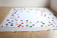 So unbelievably cute. DIY tablecloth but you could do this for sheets too!