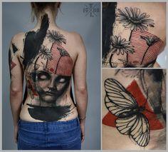 Redberry Tattoo Studio Wrocław #tattoo #inked #ink #studio #wroclaw #warszawa #tatuaz #gdansk #redberry #katowice #poland #krakow #berlin #abstract #dark #graphic #surreal #surrealizm #black #portrait #woman #timur #lysenko #back #backpiece #flowers #insect