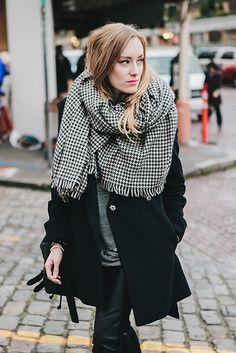 sweater: robert rodriguez / pants: paige / jacket: trina turk / scarf: zara / bag: rachel zoe