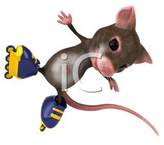 iCLIPART - Royalty Free Clipart Image of a Mouse Doing Stunts on Rollerblades