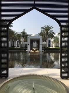 A beautiful morning at The Chedi Muscat in Oman The Chedi Muscat, Zen Style, Leading Hotels, Beautiful Morning, Beauty Photography, Palm Trees, Fountain, Paradise, Mansions