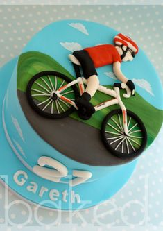 What a great bicycle cake 60th Birthday Cake For Men, 50th Cake, Adult Birthday Cakes, 21st Birthday, Bicycle Cake, Bike Cakes, Mountain Bike Cake, Dad Cake, Sport Cakes