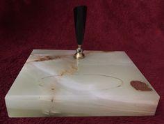 New Diamond Genuine Onyx Marble Desk Stand Plastic & Brass Pen Holder Vintage