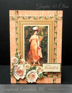 handmade greeting card from Aspiring to Creativity by Sabrina ... Graphic 45 paper collage from Portrait of a Lady suite... Vintage look ... beautiful roses ...
