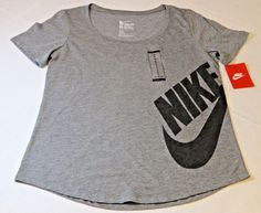 Nike Tri Blend Womens short sleeve t shirt M Athletic Cut 804130 grey 091 NWT*^ #Nike #ShirtsTops