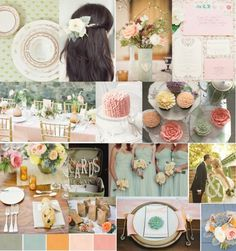 That sage, turquoise, burnt orange, and ivory Would swap in the torquoise for antique gold, and orange for peach