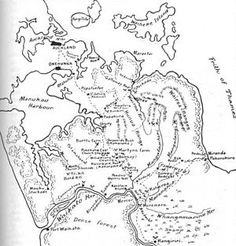 Map drawn in the early for James Cowan's history of The New Zealand Wars and the pioneering period, probably by A. Messenger, a draughtsman in the New Zealand Forest Service. Today In History, History Online, Military Post, Forest Service, Auckland, New Zealand, Vintage World Maps, War, Engagements