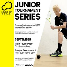Register now for our junior tournaments coming up next month! For any junior graded 1500 points and below. - www.doubledotsquash.com/juniortournamentseries _ #doubledotsquash #squash #brownsbayracquetsclub #hernebayracketsclub #brownsbay #hernebay #squashauckland #squashnz #squashnewzealand #squashcoaching #squashcoach #juniorsquash #psaworldtour #lovesquash #squashclub #ddsjuniortournamentseries Squash Rules, Squash Gear, Squash Club, Sunday Events, Double Dot, Morning Running, Coaching, Competition, Champion