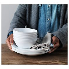 OFTAST Bowl and Plates - IKEA Made of tempered glass, which makes the bowl durable and extra resistant to impact. Recycling Facility, Ikea Family, White Dinnerware, Container Organization, First Apartment, Plates And Bowls, Room Accessories, Kitchen Box, Travel Trailers