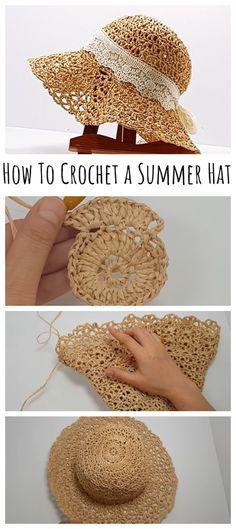 Sombrero A Crochet, Crochet Beanie, Crochet Yarn, Easy Crochet, Crochet Stitches, Loom Knitting, Knitting Patterns, Crochet Patterns, Crochet Summer Hats
