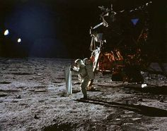 Aldrin Outside Lunar Lander - Sunlight and shadows are cast on the Apollo 11 lunar lander Eagle and lunar module pilot Buzz Aldrin in this image by mission commander Neil Armstrong during the first manned moon landing on July 1969 Moon Missions, Apollo Missions, Flat Earth Proof, Nasa Lies, Apollo 11 Moon Landing, Nasa History, Buzz Aldrin, Moon Pictures, Man On The Moon