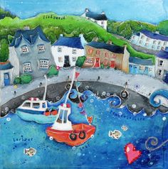 Fantastic artist Susie Grindey- check out her site this one is in Pembrokeshire Pembrokeshire Wales, Building Art, Fishing Villages, Cardiff, Local Artists, Welsh, Twinkle Twinkle, Art School, Seaside