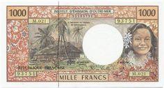 1000 Francs CFP 2000 (Südseemotive) Tahiti - Französisch Polynesien Französisches Überseegebiet
