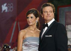 Colin Firth in tuxedo d'obbligo sul red carpet accompagnato dalla moglie Livia, che ha scelto di indossare un abito da cocktail senza spalline in raso ispirato agli anni Cinquanta, impreziosito da dettagli in angora lavorati a crochet della sua linea RECLAIM-TO-WEAR by LIVIA FIRTH per yoox.com