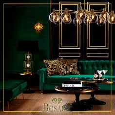 home decor art Dark green, bold angles, geometric accents, and gold light. Every aspect points to Art Deco. Art Deco Living Room, Art Deco Bedroom, Living Room Designs, Salon Art Deco, Casa Art Deco, Home Interior Design, Interior Decorating, Deco Furniture, Furniture Design