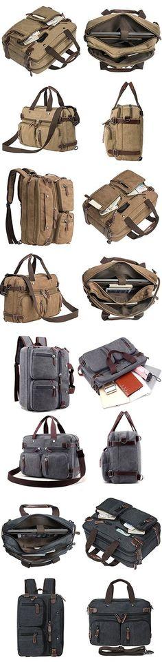 4bb30914ff US 32.93 Ekphero Multi Use Canvas Crossbody Bag Multi Pocket Solid Backpack  Handbag For Men