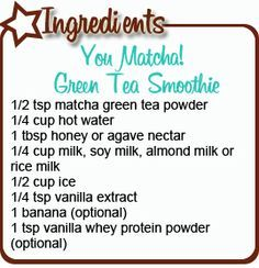Green tea is known for it's incredible health benefits. Matcha, the tea used in the recipe below, is a finely ground Japanese green tea that is often used in green tea ice cream. The drink is a potent antioxidant and studies have shown that it has profound effects in increasing metabolism – perfect for weight loss!