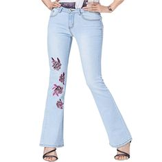 (44.59$)  Watch more here  - 2017 Spring Summer Women Jeans With High Waisted  Flowers Embroidere Flare Jean Women Slim  Light Blue stretch Long Denim Pants